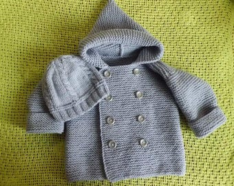 Baby knitted set, grey hat, baby cardigan, baby knit coat