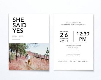 Engagement Party Photo Invitation - She Said Yes - Modern Minimal - Printable DIGITAL FILE