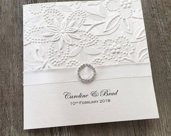 SAMPLE Ivory Embossed Wedding Invitation with Diamante Buckle {Audrey}