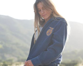 Vintage 50's Blue Corduroy FFA Agriculture Jacket