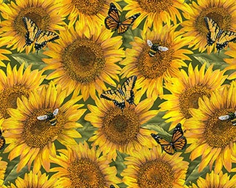 Heartland Home Sunflowers from Northcott by the yard