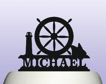 Personalised Acrylic Vintage Nautical Ships Wheel Cake Topper Souvenir