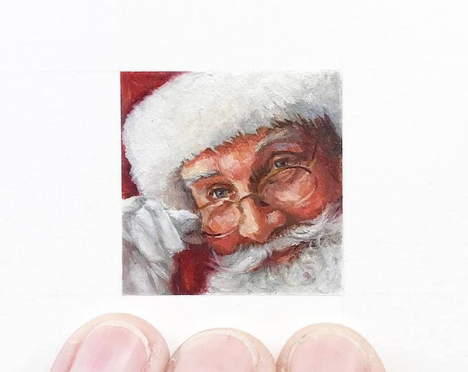 Print of miniature watercolor painting of Santa face.  giclee print of close up Santa and glasses