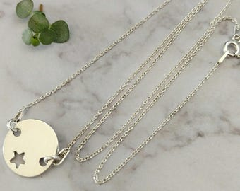Star 925 sterling silver coin necklace