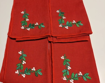 Set of Four Vintage Red Christmas Napkins