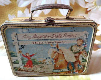 Vintage Roy Rogers and Dale Evans Double R Bar Ranch Metal Lunch Box