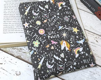 Fun Book Buddy, Custom Size Padded Sleeve, Unicorn Bookish Gift, Shooting Star Book Bag, Bookworm Accessories, Pretty Literature Gift