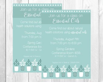 Essential Oils Home Party Invitation / Oil Class / Direct Sales / Doterra open house invite / Printable / Digital Download
