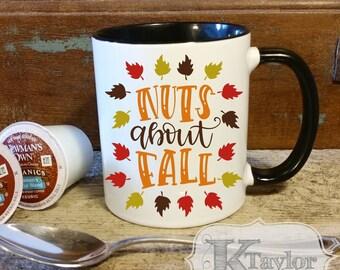 Coffee Mug, Fall Coffee Mug, Holiday Mug, Nuts About Fall, Season Mug, Gift Idea,