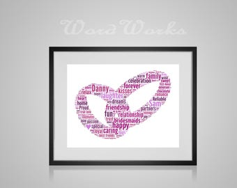"Personalised Wedding Ring Word Art Gift  **Buy 3 prints get the 4th FREE**  Use coupon code "" MYFREEONE """
