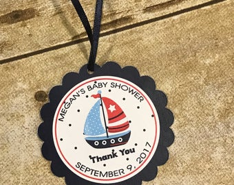 Nautical Themed Scalloped Thank You Tags