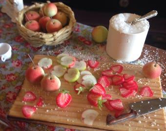 Dollhouse miniature jam ,strawberries and apples jams,handmade miniature ,miniature jam ,dollhouse food
