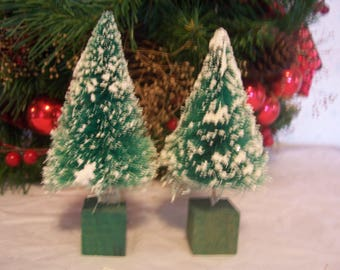 Two Vintage Bottle Brush Trees with Wood Base, Japan
