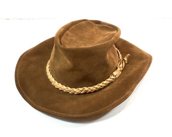 Vintage Brown Leather Suede Hat Blanctete Leather Products Australian Outback Braided Leather Band Slouchy Bohemian Festival Hat Size Small