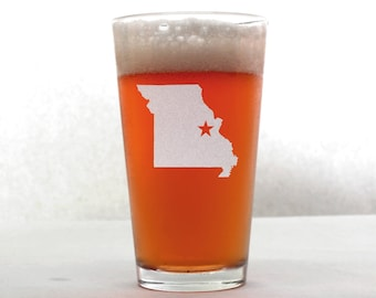 Missouri Beer Glass - State Pint Glass - Pint Glass - Personalized Pint Glass - Etched Pint Glass - Groomsmen Pint Glass
