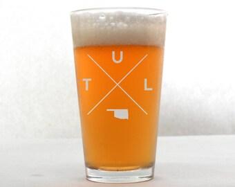 Tulsa Glass | Tulsa Pint Glass - Beer Glass - Pint Glass - Beer Glasses - Pint Glasses - Beer Mug - Tulsa Oklahoma