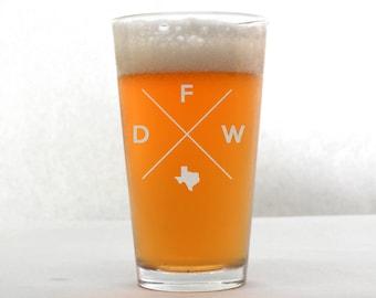 Dallas Forth Worth | Dallas Fort Worth Glass - Beer Glass - Pint Glass - Beer Glasses - Pint Glasses - Beer Mug - Dallas Texas