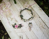 Bridal hair accessories Wedding set Woodland style Romantic set Pink and White Wedding hair accessories Hair jewellery