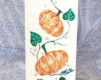 Hand-painted Pumpkin Hemp Card Halloween October