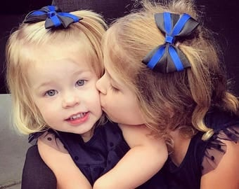 Blue Line Hair Bow, Back the Blue, Police, Police Hair Bows,Law Enforcement, Support our Police,  Blue Line Hair Bow, Toddler Bows, USA