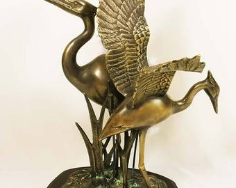 Vintage Large Bronze Brass Cranes in Cattails Asian Sculpture