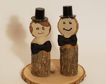Wedding cake topper, Fun log people Real Stick people groom, groom, LGBT decoration, outdoorsman ~ Rustic Cake Topper ~ Real wood people