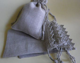 "15 Small Linen Bags * Storage Bags * Linen Bags with Lace * Eco Friendly * Flax Linen Drawstring * Canvas Bags * 3.5"" x 5"" (9cm x 13cm )"