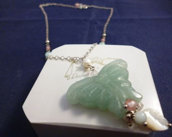 """Unique jade butterfly and bead pendant necklace - 925 - sterling silver - 20"""" necklace - 2"""" pendant - e"""
