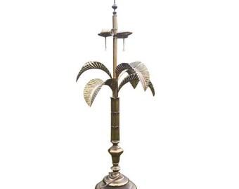 Mid Century Brass Palm Lamp. Oversized Palm Springs, Hollywood Regency, Glam Statement Lighting.