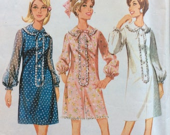 McCall's 9221 misses dress or pantdress size 12 bust 34 or size 14 bust 36 vintage 1960's sewing pattern