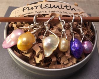Spring Mix Freshwater Pearl & Sterling Silver Stitch Markers for Knitting,Set of 6,Knitting Notions, Gift for Knitter
