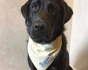 Personalized Yellow Seersucker Dog Bandana || Preppy Southern Classic Tie Dog Pupdana || Puppy Gift || Three