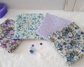 Fat Quarter Bundles - 4 Piece - Vintage Style floral - 100% Cotton - Craft Supplies