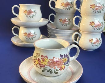 Set of 4 Denby Summer Fields England Stoneware Cups & Saucers Mugs Coffee Mint