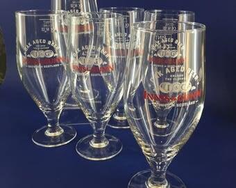 Pair of Innis & Gunn Scotland Advertising Stemmed Beer Pint Glasses Pilsner Tumblers