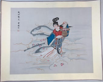 """39"""" Antique Chinese Watercolor Painting Woman rice paper with silk border vintage 4"""