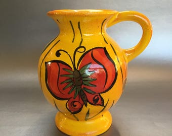 Italian Pottery Pitcher Vintage MCM golden yellow butterfly Italy Jug