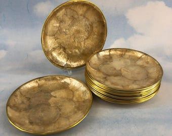 "Set Of 4 Capiz Shell 6"" Bread Plates Gold Trim Mother Of Pearl Seashell Tiki"