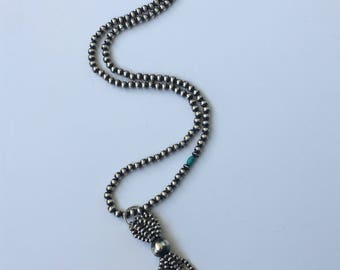 Tassel Necklace Navajo Pearl Southwestern Jewelry Silver Tassel Silver Necklace Turquoise Jewelry Sterling Silver Long Necklce Boho Jewelry