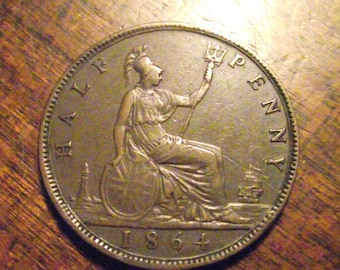 1864 Great Britain Farthing...one of the rarest #3862