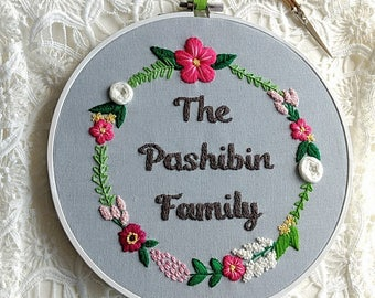 Personalized Embroidery. Home Gifts. Family Gift. Custom Name Wall Art. Custom Gifts For Mom Grandma. Embroidery Art. 2nd Anniversary Gift.