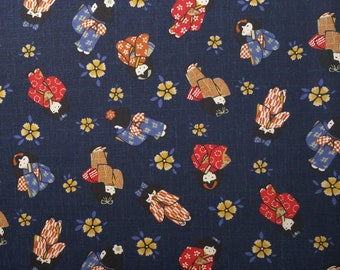 Japanese import new indigo colored cotton quilting fabric - girls in kimono