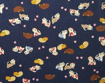 Japanese import new indigo colored cotton quilting fabric - playful cats
