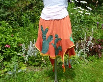 Asymmetric orange cotton skirt, cactus and beads, hand embroidered