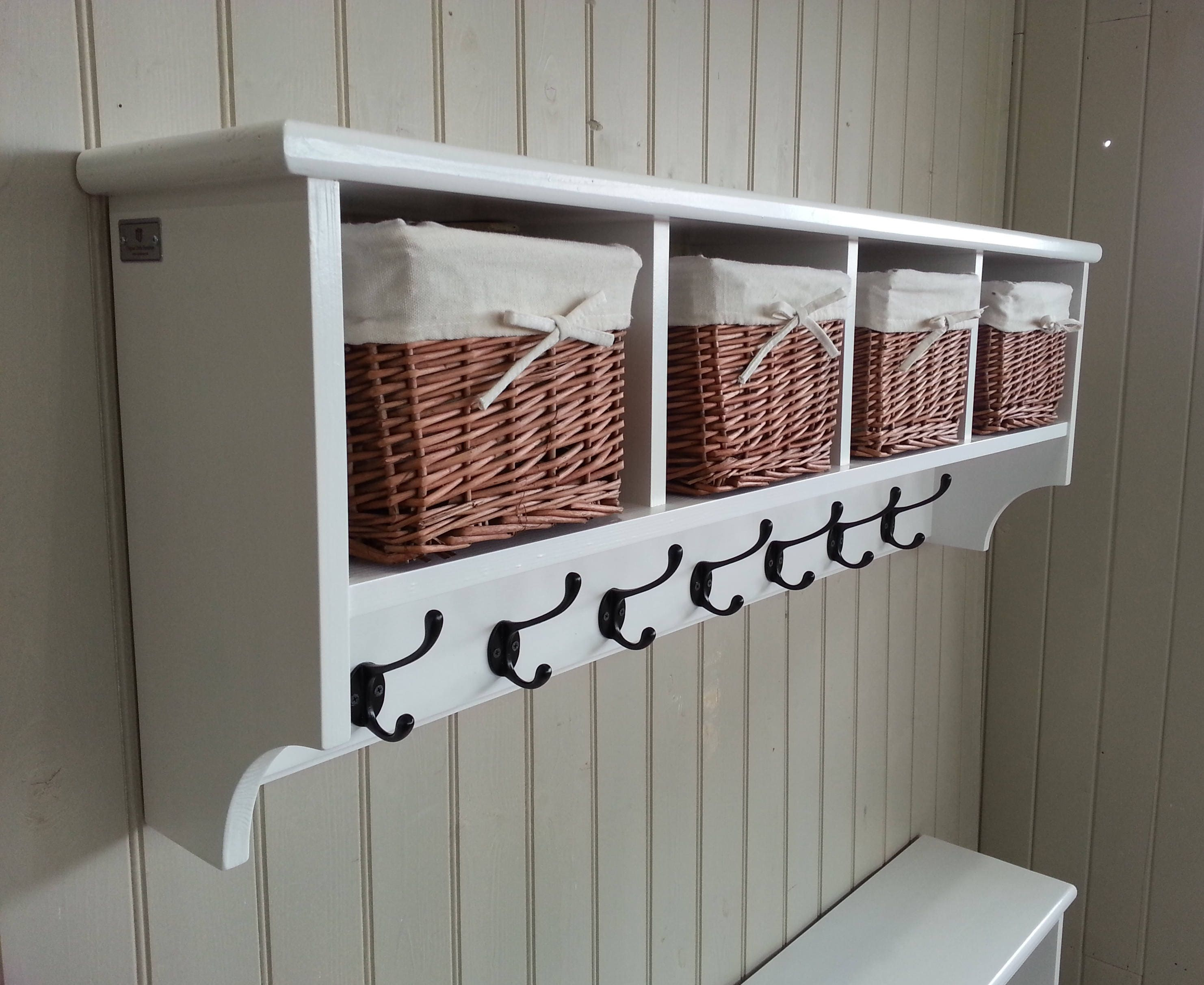 Hat Amp Coat Rack With Shelf Including Storage Baskets