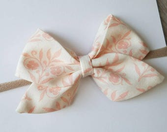 pink sailor bow, nylon headband,light pink sailor bow, big sailor bow, pink fabric bow, clip, nylon headband
