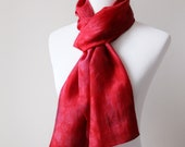 Red silk scarf gift for mom. Anniversary gift for wife. Hand dyed silk scarf in berry red. Long silk scarf for her. Lightweight red scarf.