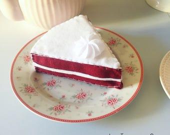 Felt food pretend play, felt red velvet cake, felt toys, tea party, Christmas gift, birthday gift, baby girl gift, handmade toy, felt cake