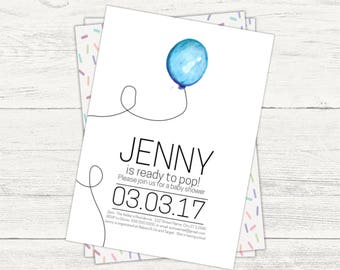 "A ""Ready to Pop"" balloon baby shower digital invitation"