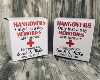 Hangover kits, personlised hangover kit,  wedding favor hangover kits, hen do hangover kit, stag do kits, bachelorette hangover kit
